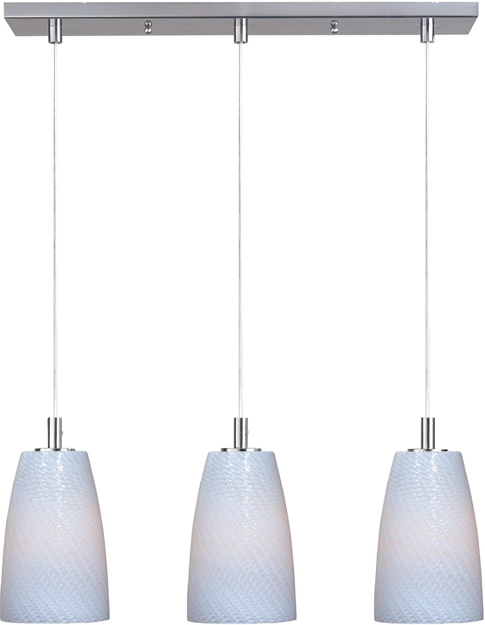 ET2 E92043-13SN Carte 3-Light Linear Pendant, Satin Nickel Finish, White Ripple Glass, MB Incandescent Bulb, 40W Max., Dry Safety Rated, Shade Material, 1150 Rated Lumens