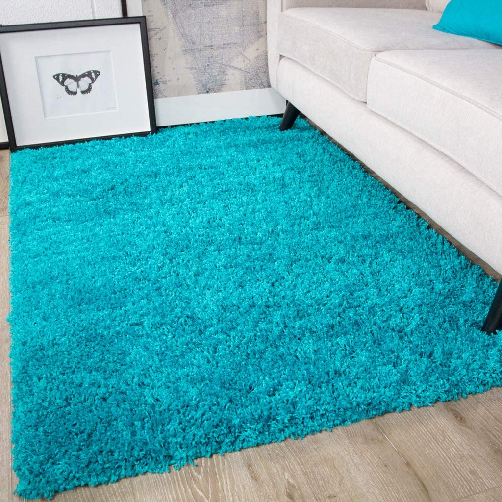 Ontario Teal Blue Soft Warm Thick Shaggy Shag Fluffy Living Room Area Rug Amazon Co Uk Kitchen Home