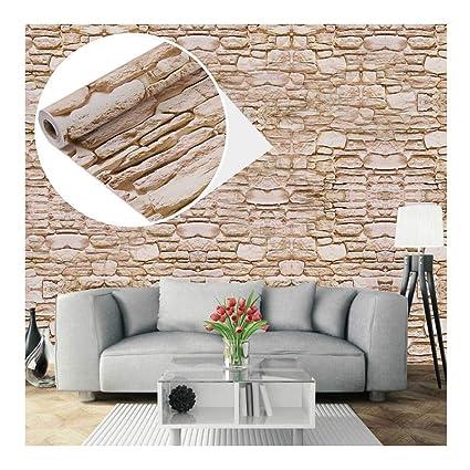 Carta da parati autoadesiva, effetto mattone/pietra, decorazione per  mobili, camera da letto, soggiorno, ufficio, beige