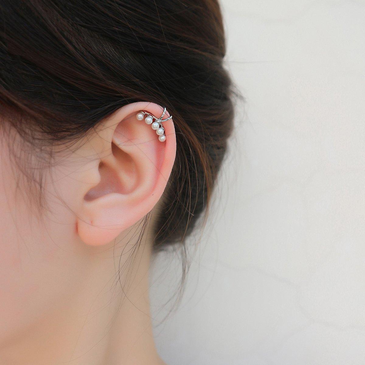 Aifeer Sterling Silver Non Pierced Ear Stud Earrings 5 Pearls Wrap Cuff Clip On Ear Clamp (A Pair) by Aifeer (Image #9)