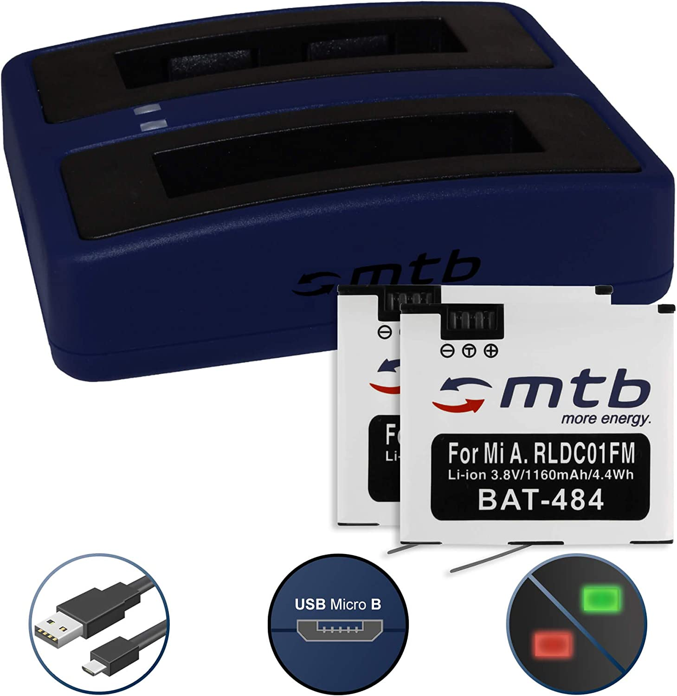 2 Baterías + Cargador Doble (USB) para Xiaomi mijia Mini 4K Action CAM - reemplaza Xiaomi RLDC01FM [1160 mAh - 3.8V - Li-Ion] - Cable USB Micro Incluido