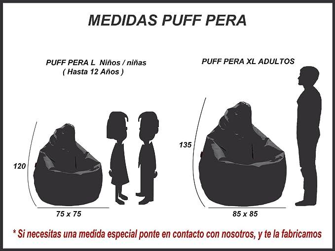 loconfort Puff de pera Niños Polipiel Amarillo (75x75x120 ...