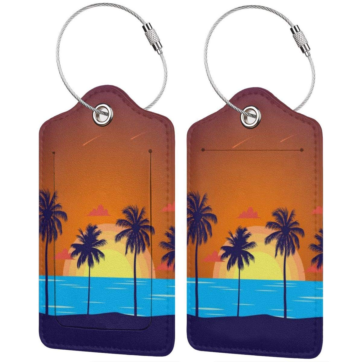 Sunset Beach Coconut Trees Leather Luggage Tags Suitcase Tag Travel Bag Labels With Privacy Cover For Men Women 2 Pack 4 Pack
