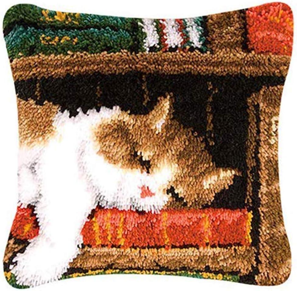 Yxp DIY Kissenbezug Kn/üpfkissen Katzen Muster Selber Kn/üpfen Kissenh/ülle F/ür Kinder Erwachsene