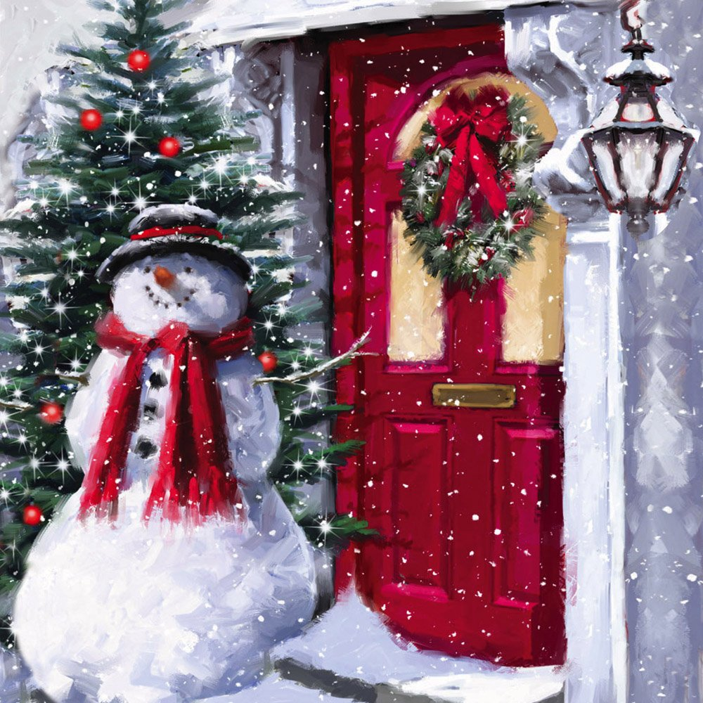 Cypress Home Snowman Outside The Door LED Canvas Wall Decor