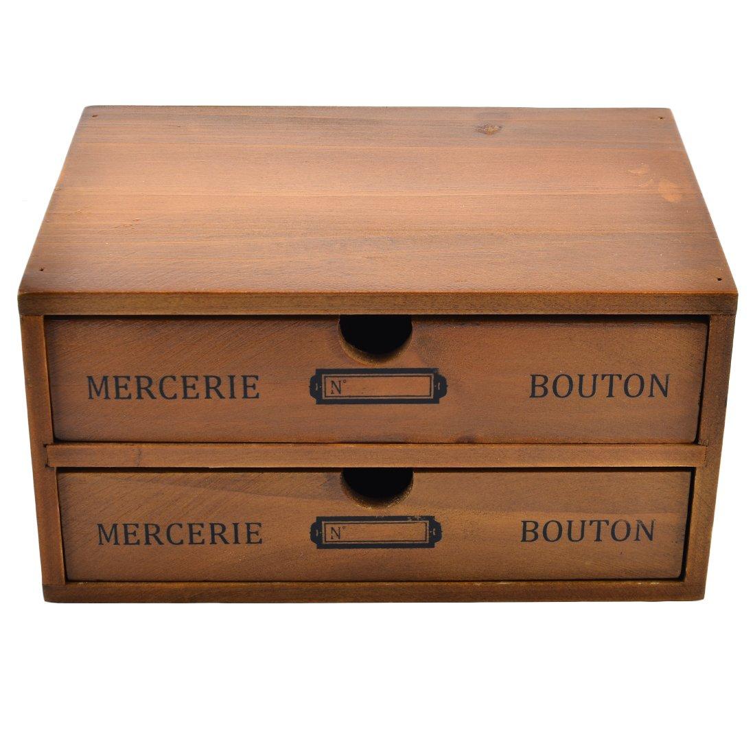 ct-tribe cassetto vintage baule in legno massiccio, scatola organizzatore da scrivania, Legno solido, Vintage, 2-Drawer