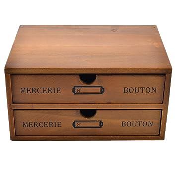 Itechor Organiseur 2 Tiroirs Vintage Boîte De Bureau En Bois Meuble