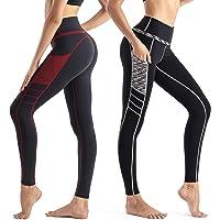 Wirezoll Legging Sport Femme Taille Haute avec Poches Pantalon Yoga Longue Minceur