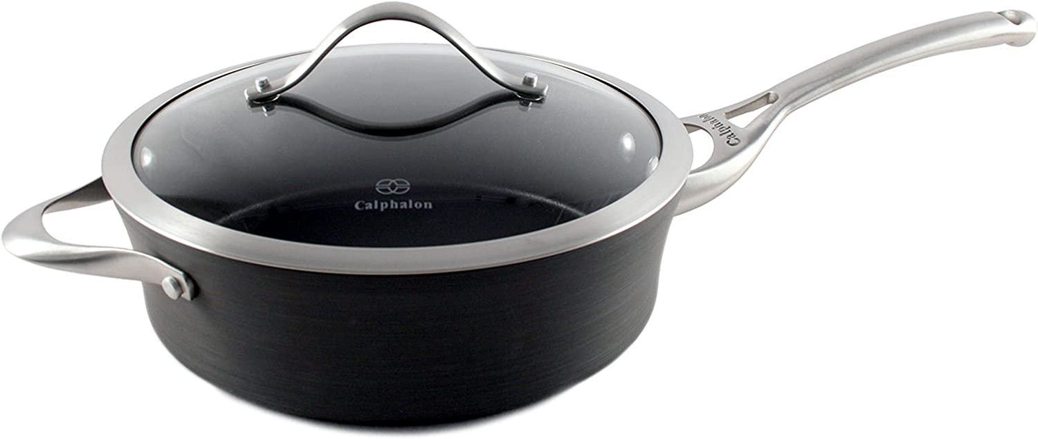 Calphalon Contemporary Hard-Anodized Aluminum Nonstick Cookware, Saute Pan, 3-quart, Black