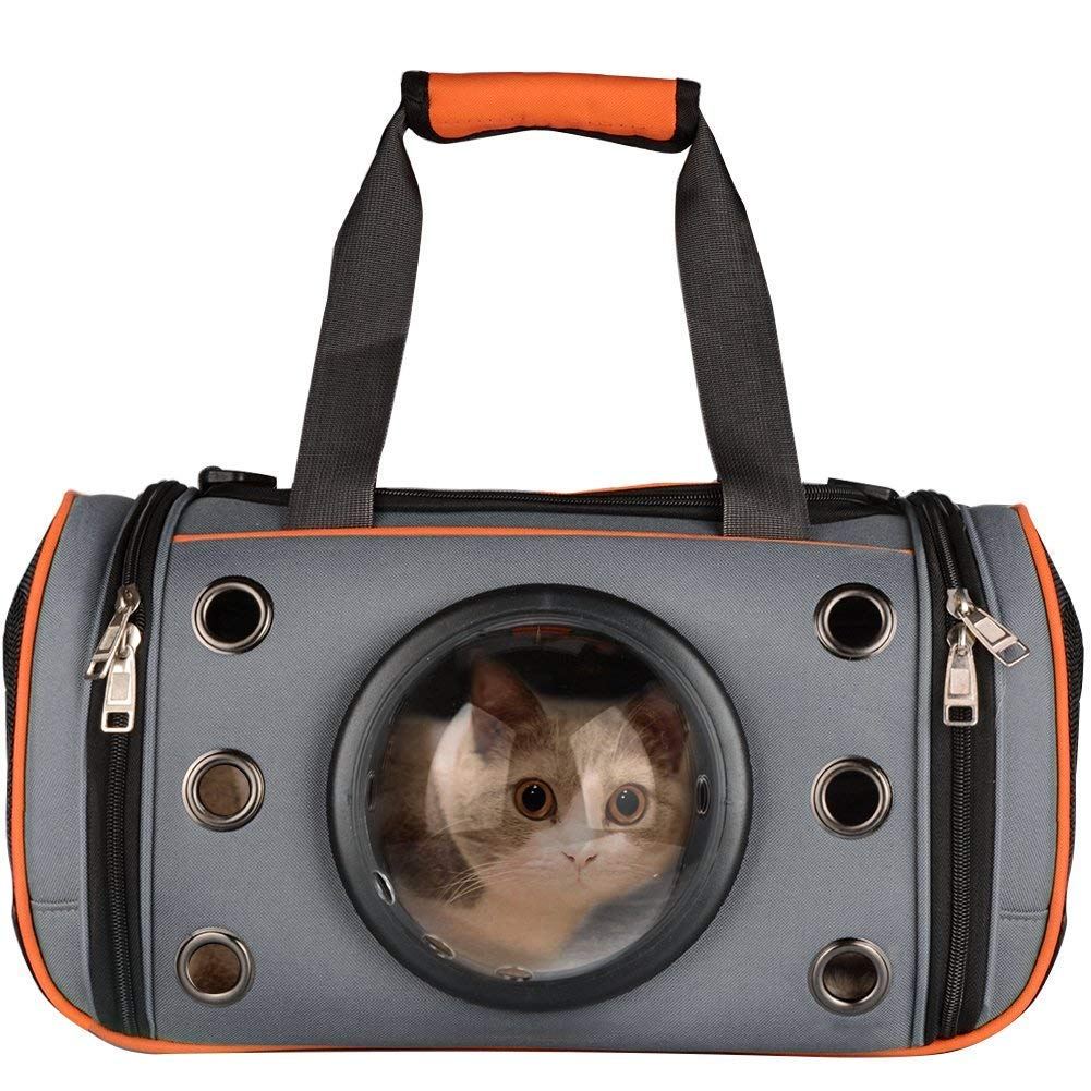 orange Large  50  28  28cm orange Large  50  28  28cm PUAO Pet Carrier Tote, Portable Puppy Handbag Soft Sided Top & Side Loading Foldable Pet Travel Carrier for Cats and Small Dogs (Large  50 28 28cm, orange)