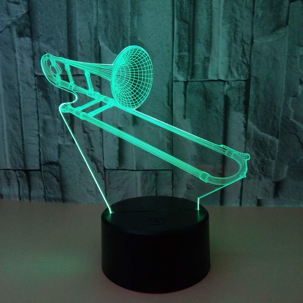 3D Night lamp, Colorful, Acrylic, Trombone, Touch Remote Control, Children's Room Decoration Sleep lamp by LAMP YANG
