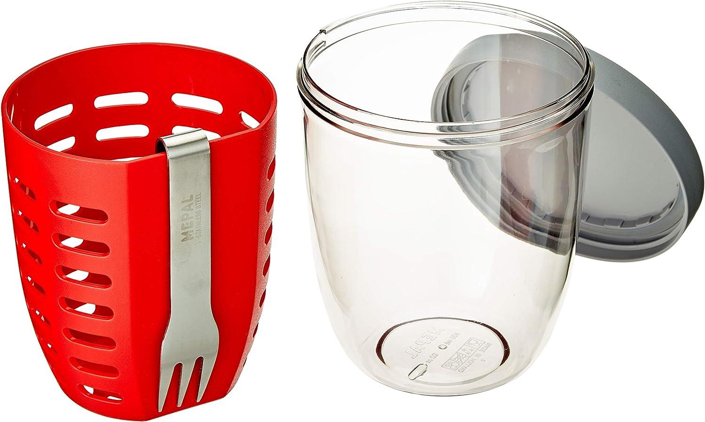 MEPAL Ellipse Bote para fruta y verdura con colador y tenedor Color Nordic Red