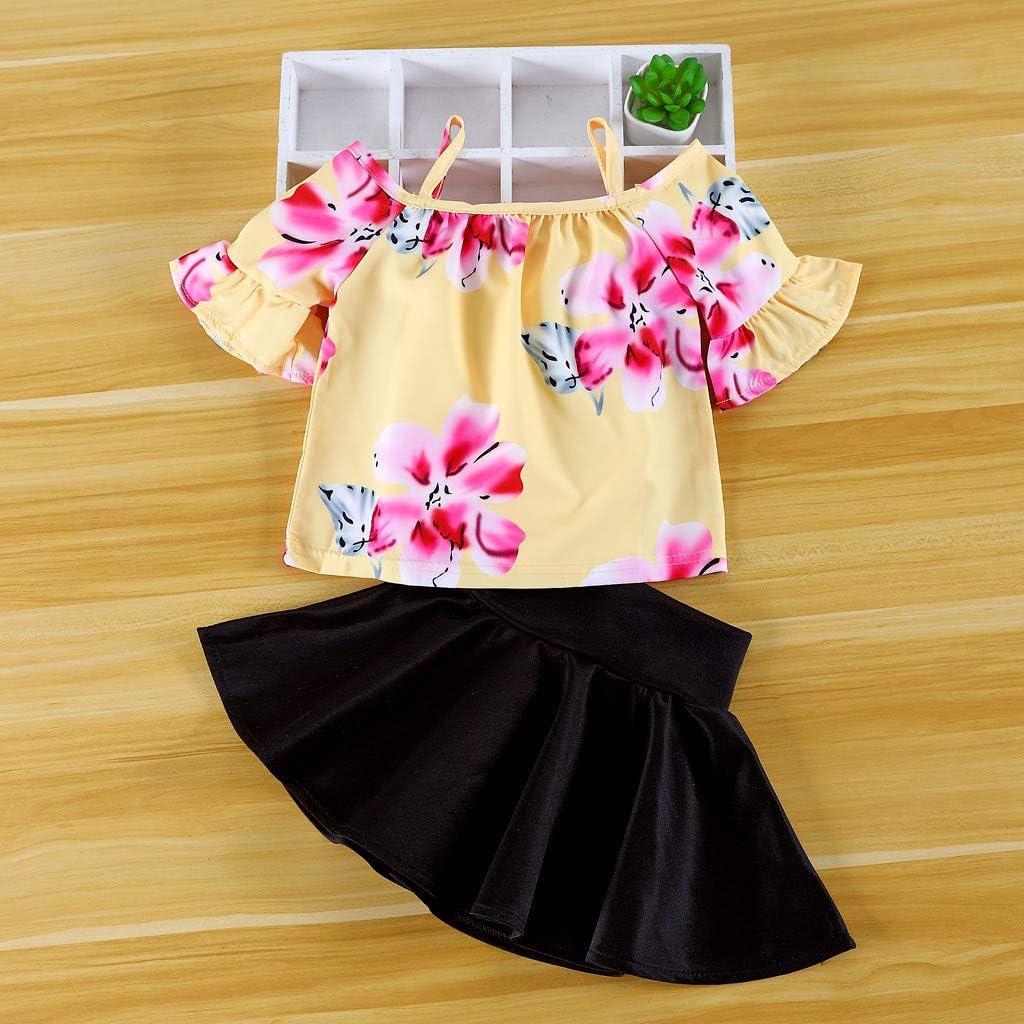 PinkLu Traje de niña Amarillo Manga Larga Estampado de Flores Negro Falda Corta Verano Encantador Moda Traje(12 Meses-4 años): Amazon.es: Ropa y accesorios