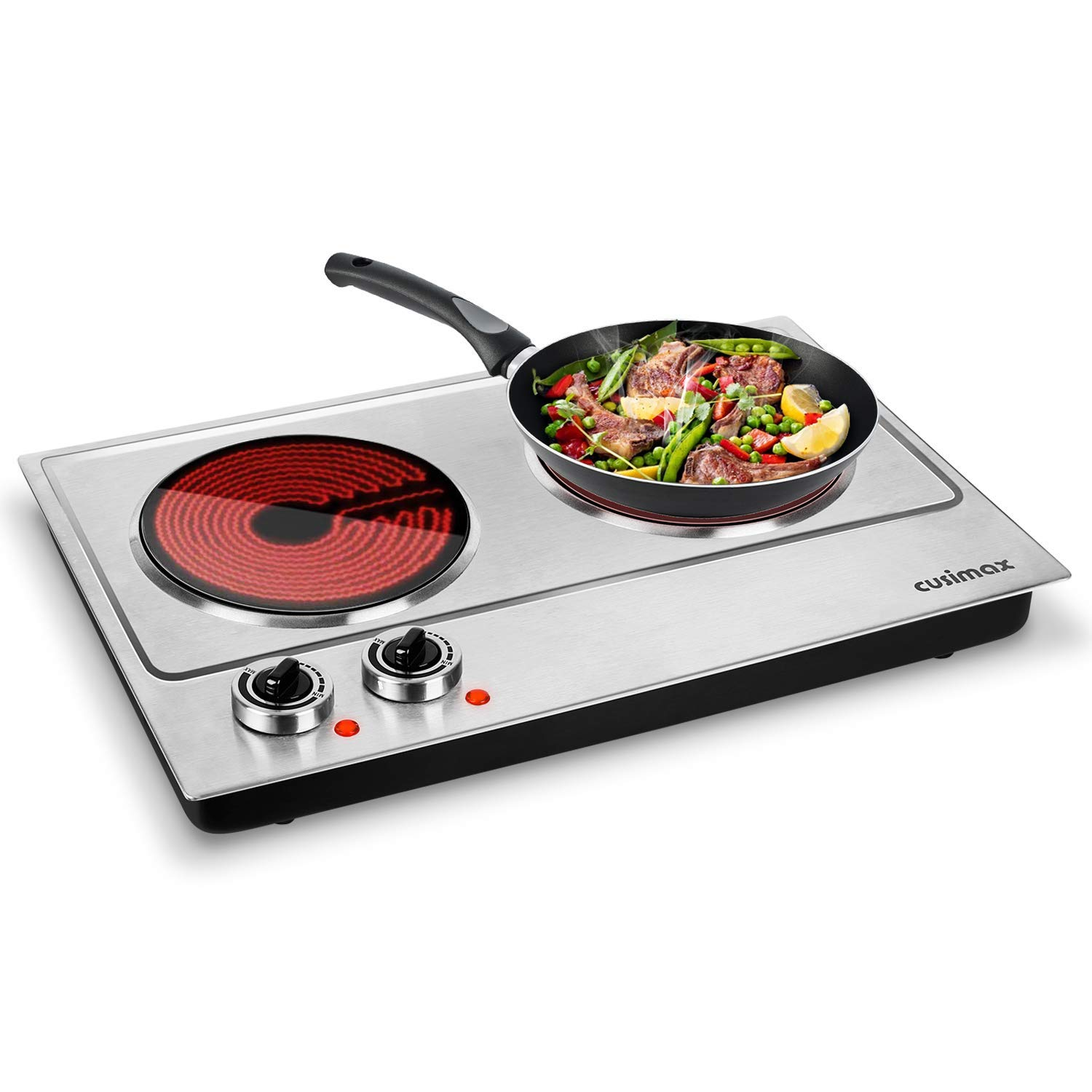 Cusimax Hot Plate 1800W Electric Double Burner Ceramic Infrared Countertop Cooktop Glass Heating