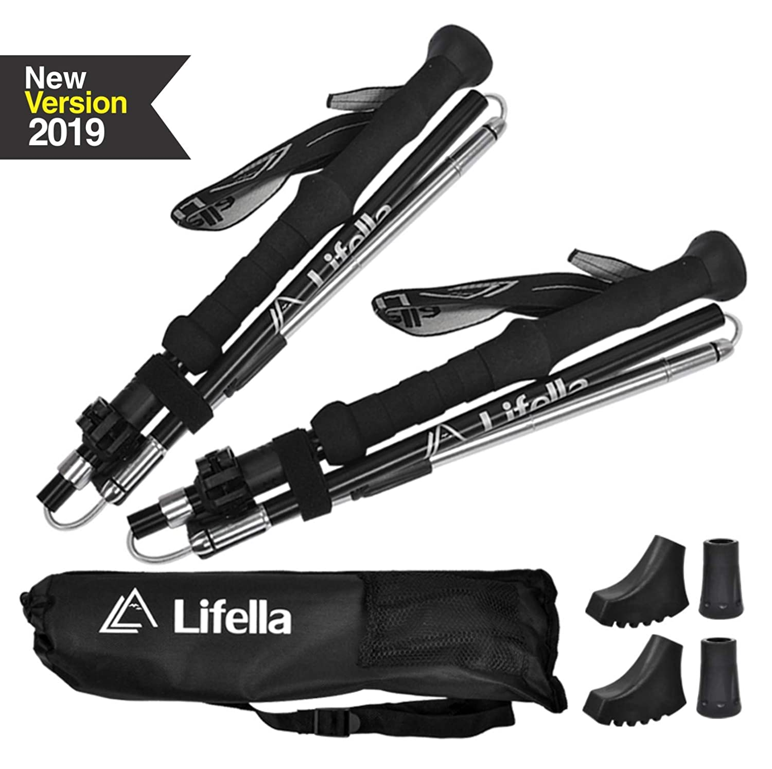 Lifella Collapsible Trekking Poles, 2 Pack Lightweight Adjustable Shock-Absorbent Walking Sticks with Terrain Accessories Carry Bags for Mountain Hiking, Camping, Backpacking