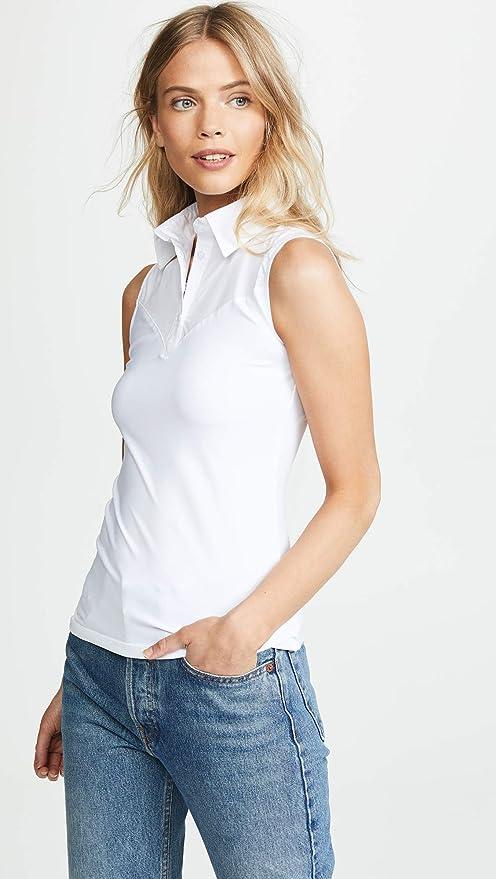 SkinnyShirt Classic Sleeveless White Slim Shirt No-Bunch Pull-On Shirt  w Nylon 57e007082