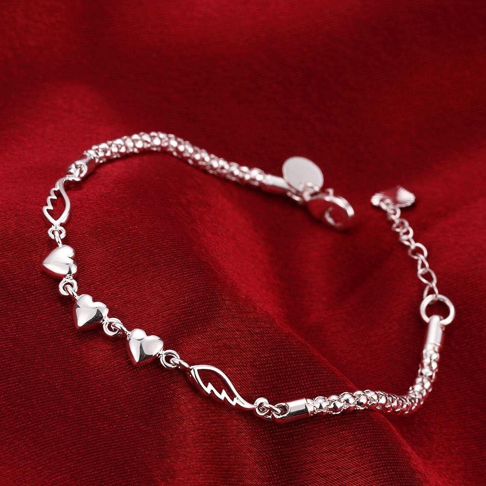 Fashion Love Heart Bangle Bracelet Girl Popular Jewelry Silver Plated