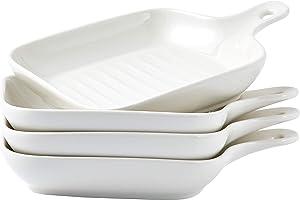 Bruntmor Set Of 4 Matte Glaze Ceramic Food Serving Plate With Skillet Look Handle Baking Dish 6.5
