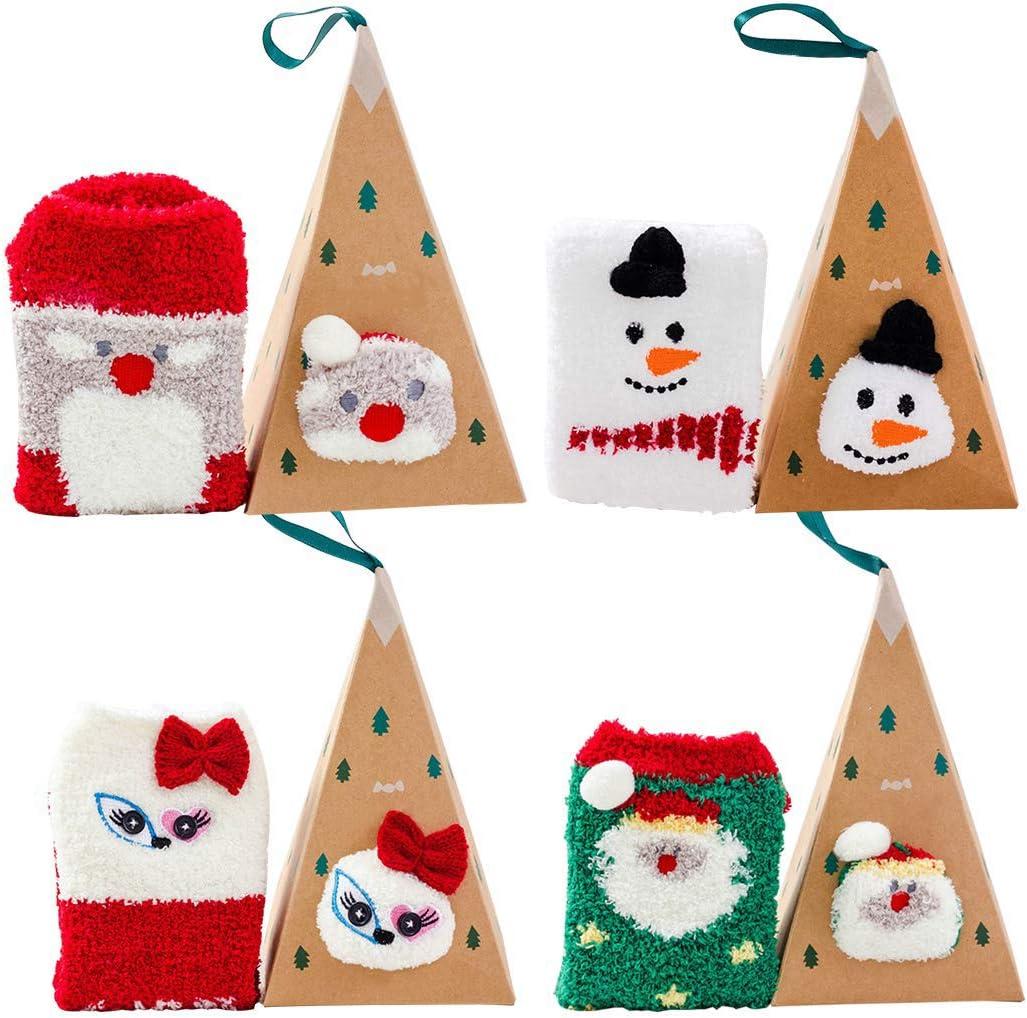 Bageek Calcetines de Navidad, 4 Pares Calcetines Navidad Mujer Santa Claus Muñeco de Nieve Calcetines de Felpa Cálidos Calcetines Navidad Regalo Calcetines para Adultos Cómodo Calcetines