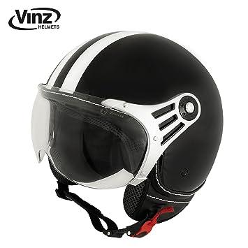 vinz Moto Casco, Casco Jet Casco Jet Fashion Casco Negro con rayas blancas en (