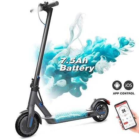 Patinete Eléctrico, Scooter Eléctrico Plegable, Scooter Urbano con Pantalla LCD / Batería de 7,5 A / APP / Bluetooth / Ultraligero para Adultos