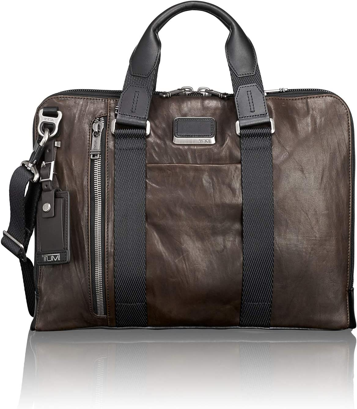 TUMI – Alpha Bravo Aviano Leather Laptop Slim Brief Briefcase – 15 Inch Computer Bag for Men and Women – Dark Brown