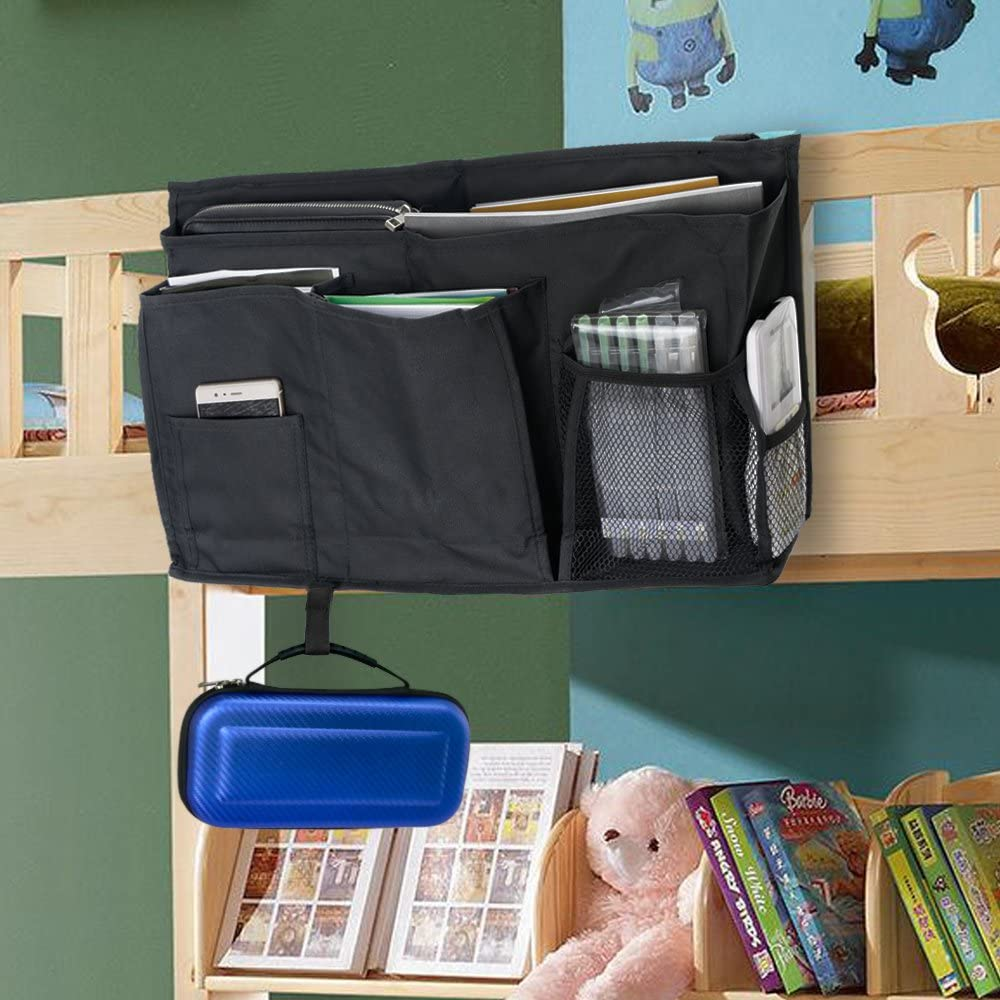 Bunk Bed and Hospital Bed Large Capacity 8 Pockets Bedside Storage Bag with Hook /& Loop Strap for Placed on Headboard YOUSHARES Caddy Hanging Organizer Black Bed Rails Dorms
