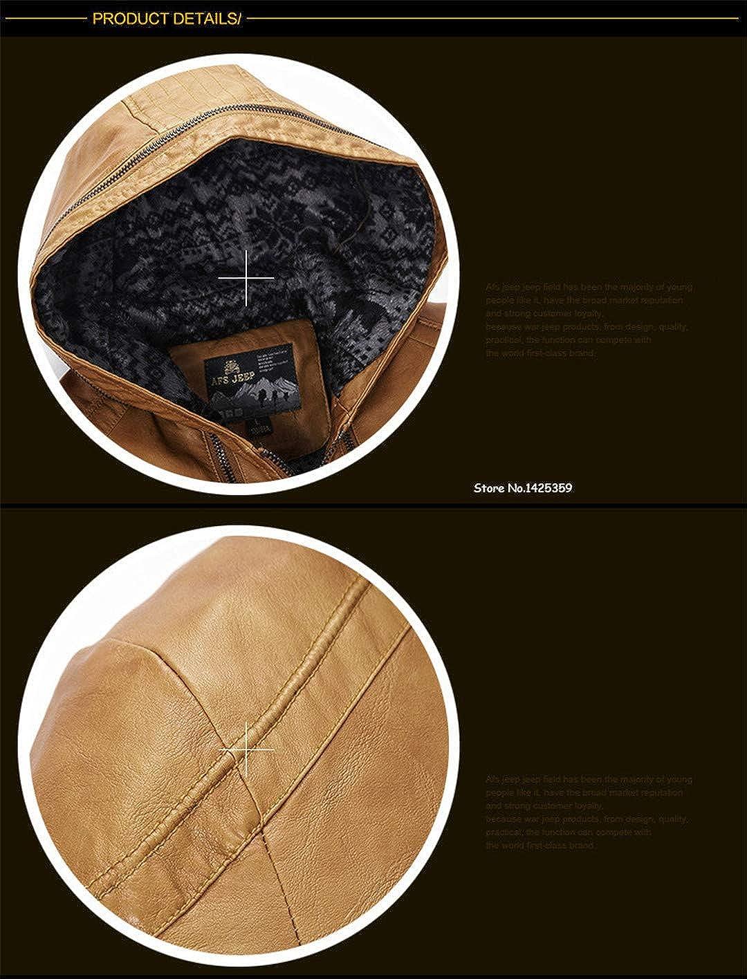 MR/&KENOST Fashion Leather Men Warm Windbreaker PU Leather Collar Plus Size Outwear
