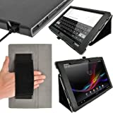 "iGadgitz Premium Folio Black PU Leather Case Cover for Sony Xperia Z 10.1"" Tablet With Auto Sleep Wake + Hand Strap + Multi Angle Viewing Stand + Screen Protector"