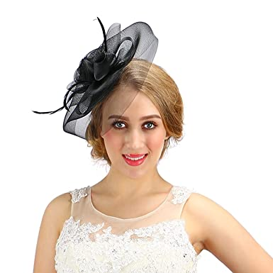 76905eda253 Women Fascinator Cocktail Hat With Veil Handmade For Wedding Tea Party (One  Size