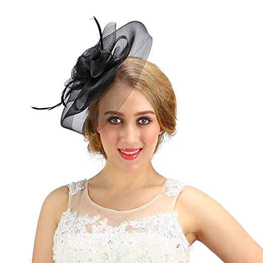 b9695ccb5da Women Fascinator Cocktail Hat With Veil Handmade For Wedding Tea Party (One  Size