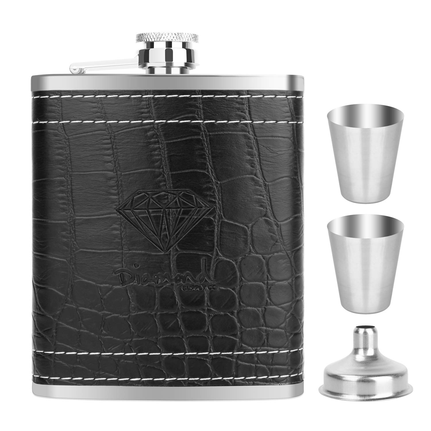 FIGEN 7 OZ Stainless Steel Black PU Leather Premium Heavy Duty Hip Flask Gift Set - Includes Funnel and 4 Little Cups, for Discrete Shot Drinking of Alcohol, Whiskey, Rum and Vodka | Gift for Men