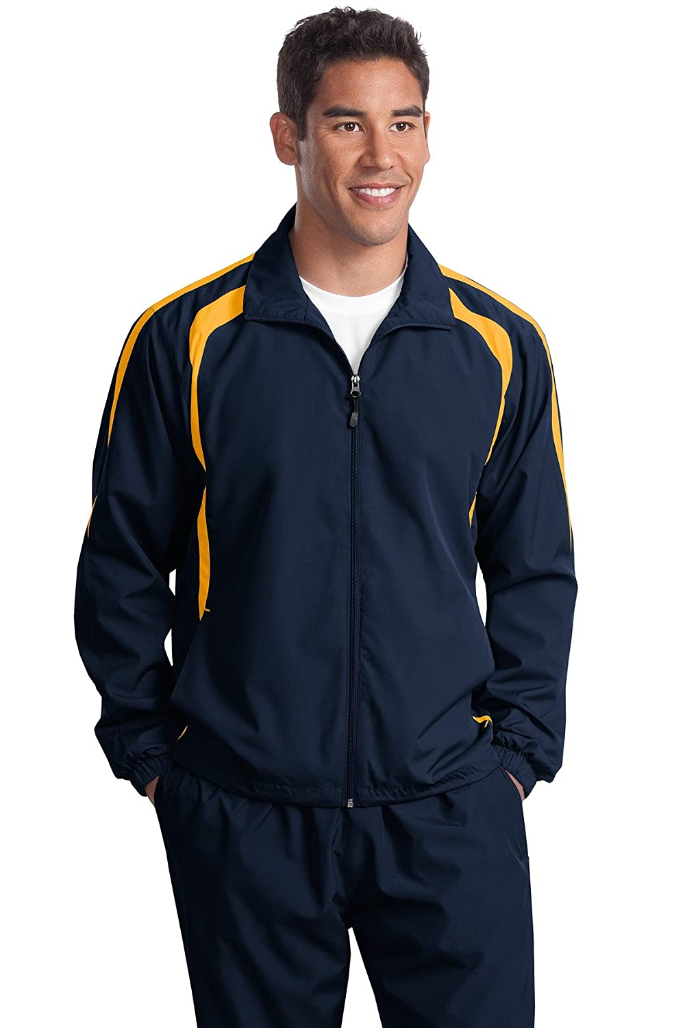 Sport-Tek Mens Big And Tall Colorblock Raglan Jacket/_Tr Navy//Gold/_4XLT