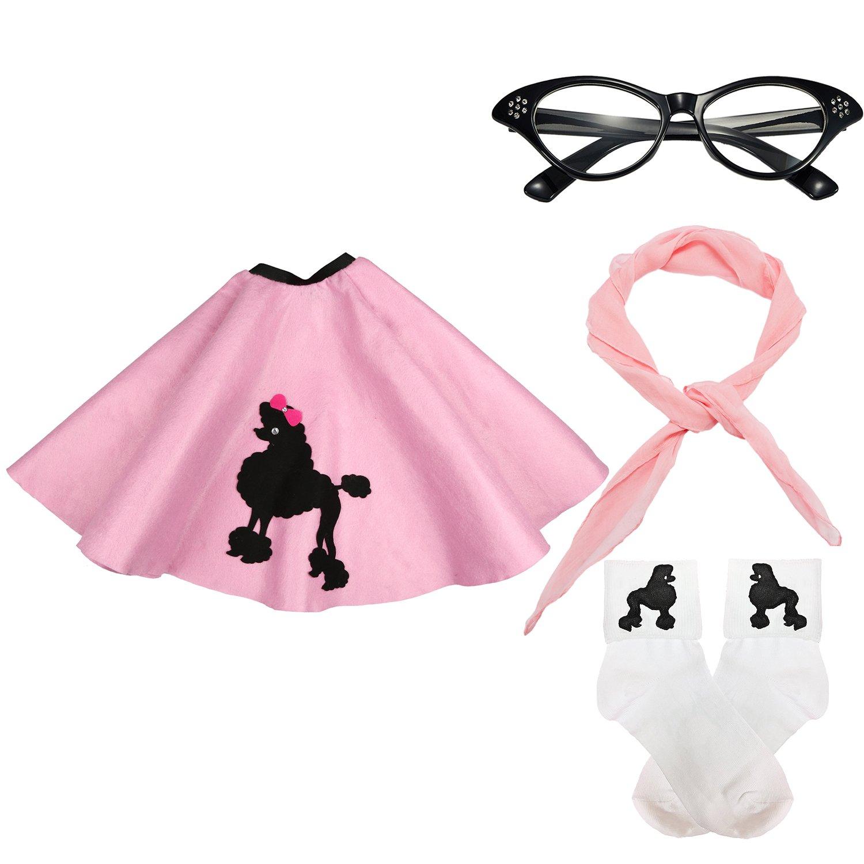 50s Girls Costume Accessory Set - Poodle Skirt, Chiffon Scarf, Cat Eye Glasses,Bobby Socks,Light Pink