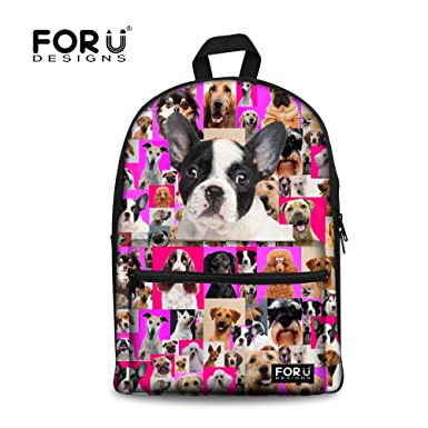 Amazon.com | FOR U DESIGNS 15 inch Canvas Backpack French Bulldog ...