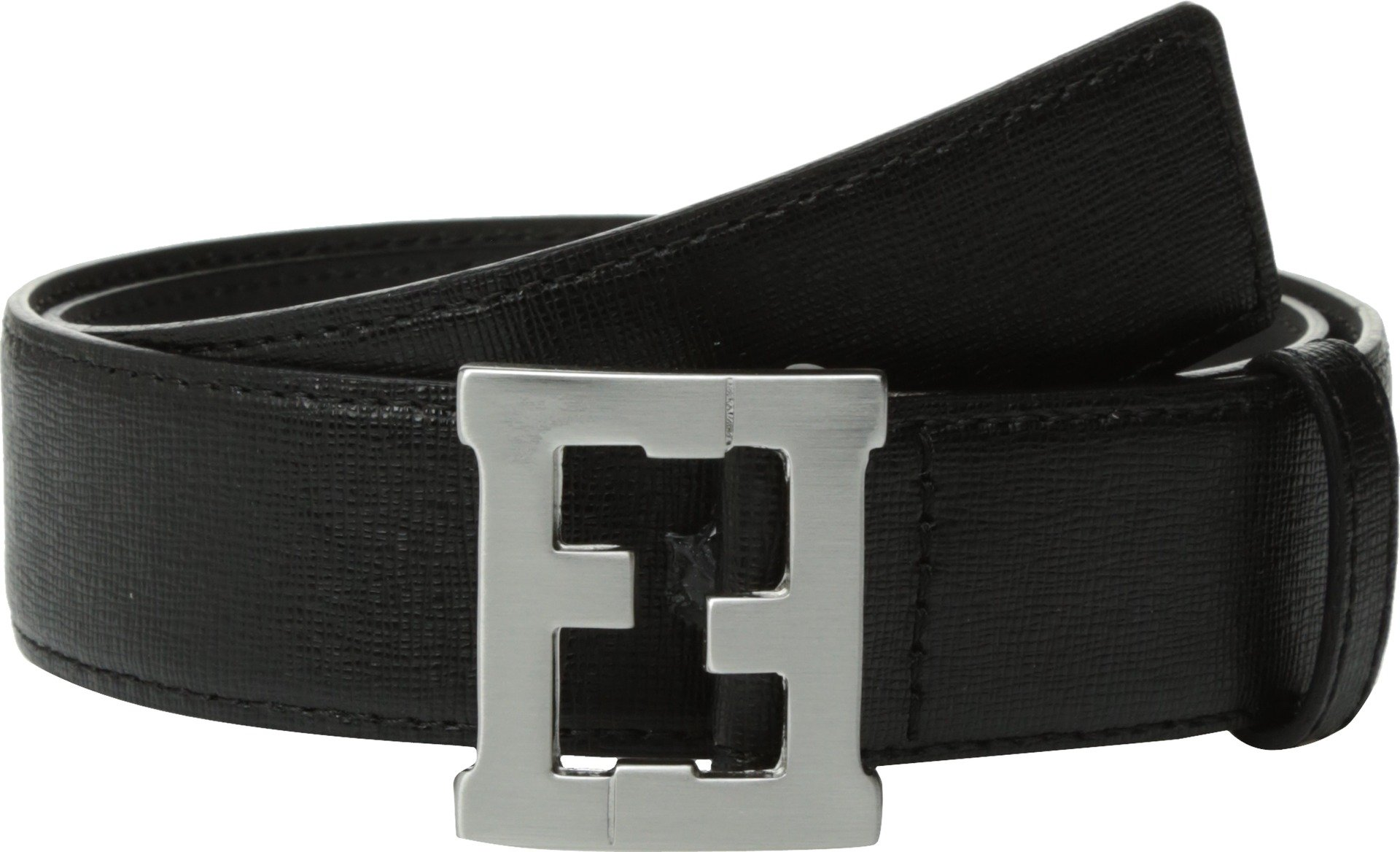 Fendi Kids  Baby Boy's Logo Buckle Leather Belt (Toddler/Little Kids/Big Kids) Black 9 Years