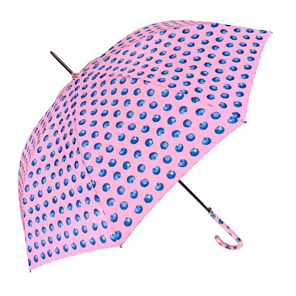 Paraguas Largo Automatico Mujer - Paraguas de colores Grande Ligero y Antiviento - Con estampado Arándanos - 102 de diámetro - Perletti Time - Rosa 25991B