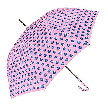 Paraguas Largo Automatico Mujer - Paraguas de Colores Grande Ligero y Antiviento - con Estampado Arándanos - 102 de diámetro - Perletti Time - Rosa: ...