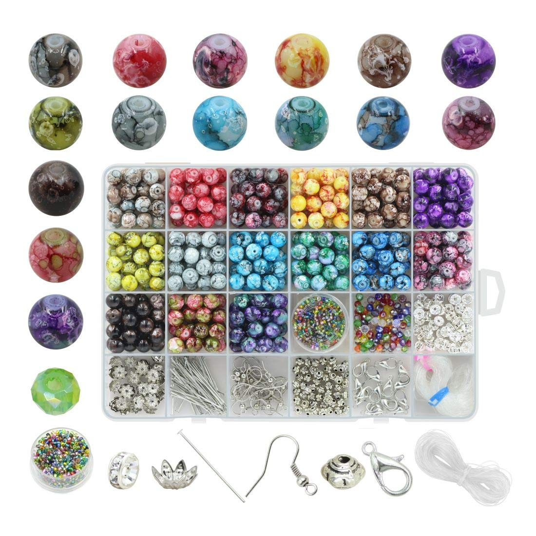 Beads for Jewelry Making Adults 8mm Assorted Colors Handcrafted Crackle Round Glass Beads 375pcs with Jewelry Accessories and Elastic String for Jewelry Making with Container Box by ZHUBI