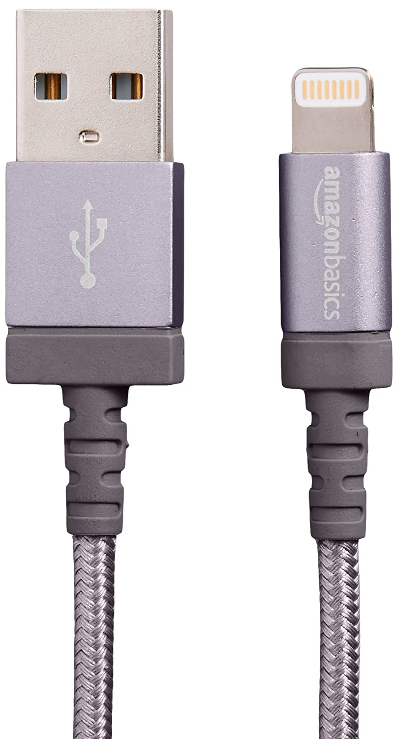 AmazonBasics Nylon Braided Lightning to USB A Cable - MFi Certified iPhone Charger - Dark Grey, 6-Foot