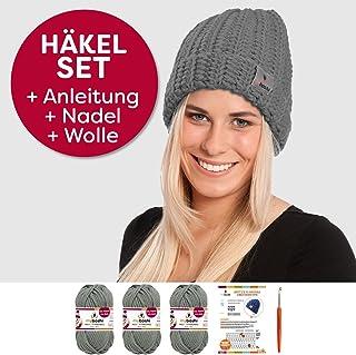 myboshi Häkel-Set Mütze | aus No.1 | Anleitung + Wolle | mit passender Häkelnadel Kanuma titangrau