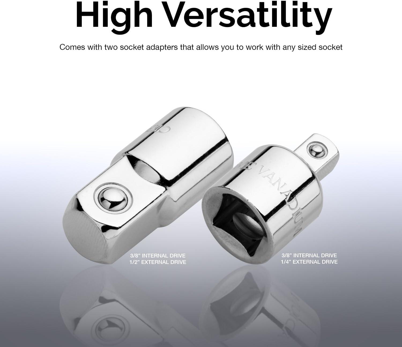 "Neiko 01135A 3//8 Drive T Handle Wrench Chromium Vanadium Steel Includes 1//4 and 1//2/"" Adaptors Ridgerock Tools Inc. Long Reach Includes 1//4 and 1//2/"" Adaptors Chromium Vanadium Steel Long Reach"