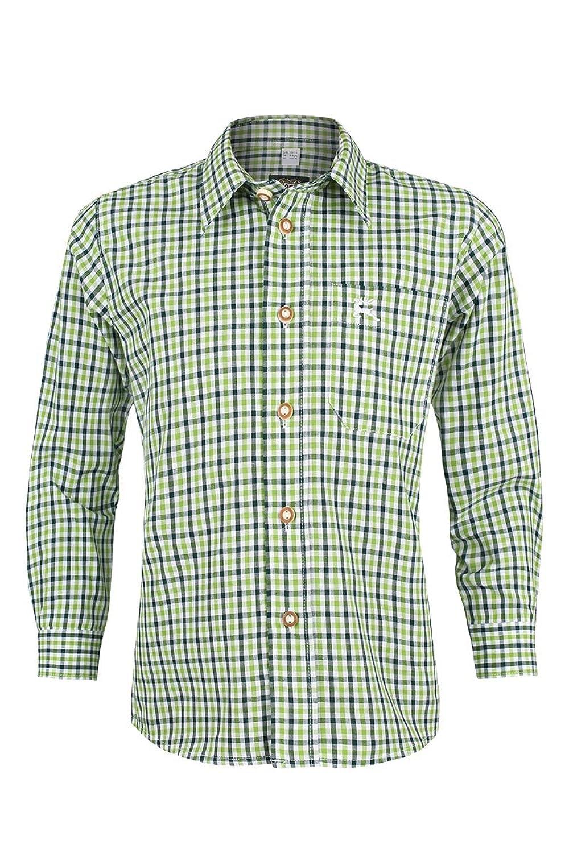 Jungen OS-Trachten Trachten Kinderhemd grün kariert, Grün,