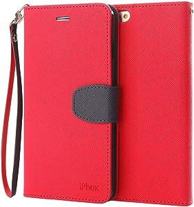 Funda iPhone 7 Plus / 8 Plus, IPHOX Fundas [Ranuras para Tarjetas][Cierre Magnético] [Soporte Plegable] [Ultra-Delgado]TPU Parachoques Protección Carcasa Para Apple iPhone 7P / 8P (Red & Blue)