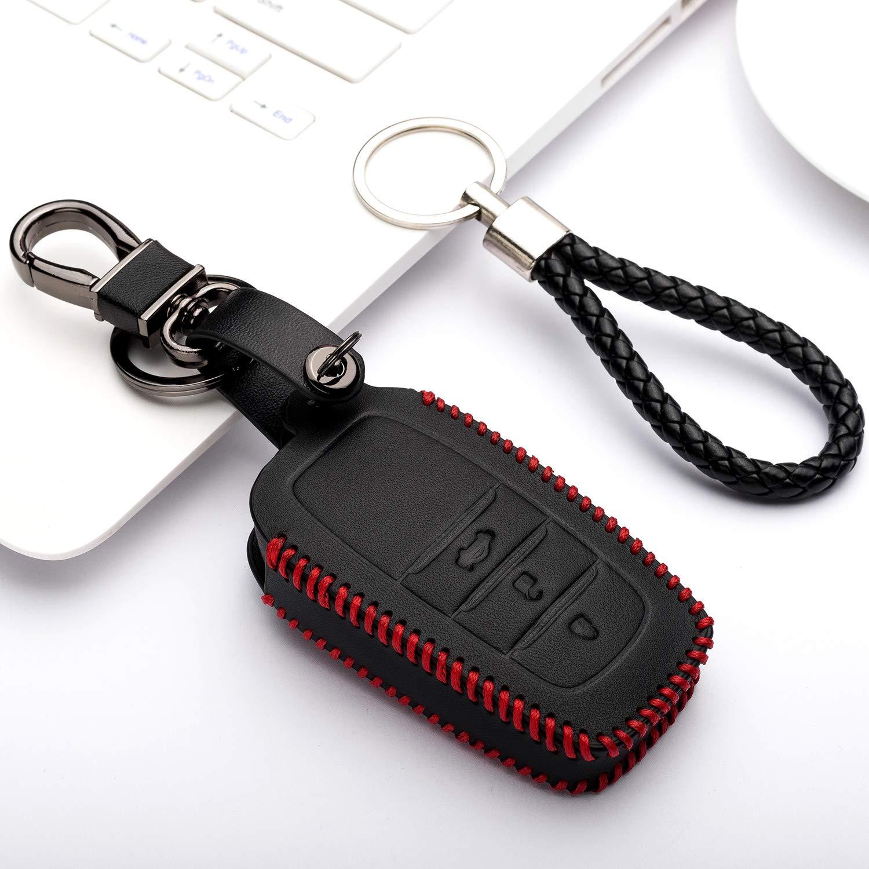 Solamente Keyless GO Funda de Cuero para Llave Coche Toyota Auris Aygo RAV4 Yaris Vios 3 Botones Carcasa Piel Cover de Mando y Control de Auto