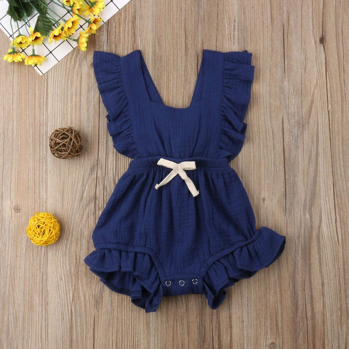 Cotrio Toddler Baby Girl Ruffled Rompers Sleeveless Cotton Romper Bodysuit Jumpsuit Clothes