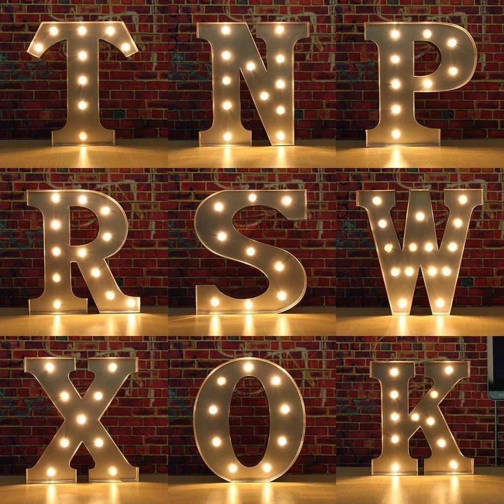 Kerong DIY LED Light up Wooden Alphabet Marquee Letter Lights for Festival Decorative Home Party Wedding Scene Holiday Birthday Christmas Valentine,Battery Operated Warm White (T) by Kerong (Image #4)