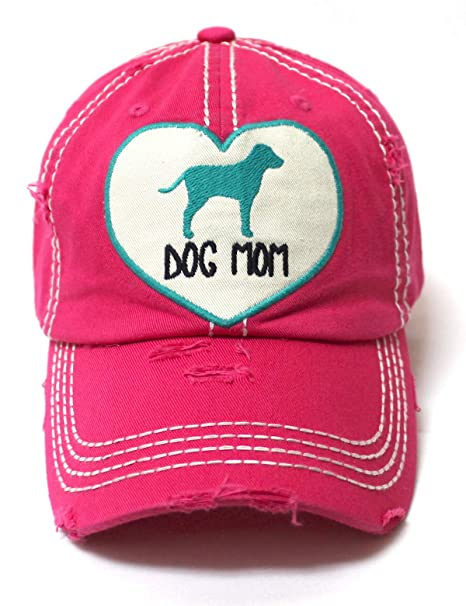 Women s Love Pink Cap Dog MOM Heart Patch Embroidery 59ccb57cd5