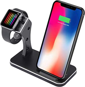Aluminium 2in1 Phone Wireless Charger, Watch Charging Stand Compatible iwatch Series 4,3,2,1,Wireless Charger Compatib iPhone Xs/X/Xs Max/Xr/8/8 Plus (Black)
