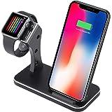 iPhone X ワイヤレス充電器とApple Watchスタンドに適用し、iPhone Xs/iPhone Xs Max/iPhone 8/8 Plus/Galaxy S9/S9 Pluste 8用、ベストホリデーギフト-(サブブラック)